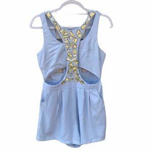 Sabo Skirt Cut Out Gem Embellished Romper Blue 10